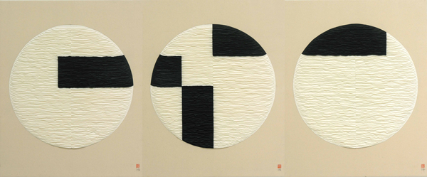 Black and white circles. Triptych