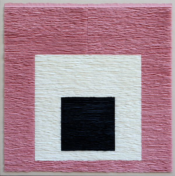 Black square on white square on pink square (Homage to Josef Albers)