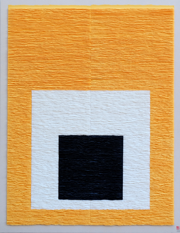 Black square on white square on yellow background (Homage to Josef Albers)
