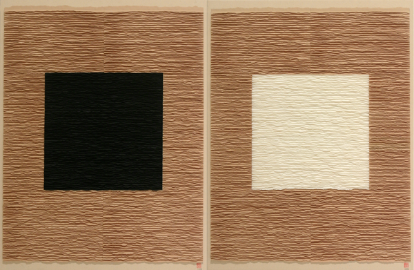 Black and white squares on beige background. Diptych