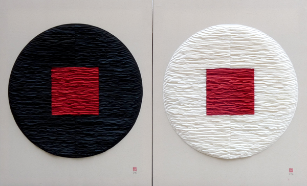 Red squares on black and white circles. Diptych