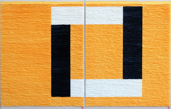 Black and white structure on yellow background (Diptych)