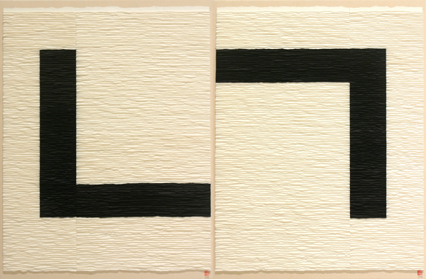 Black structure on white background 2. Diptych