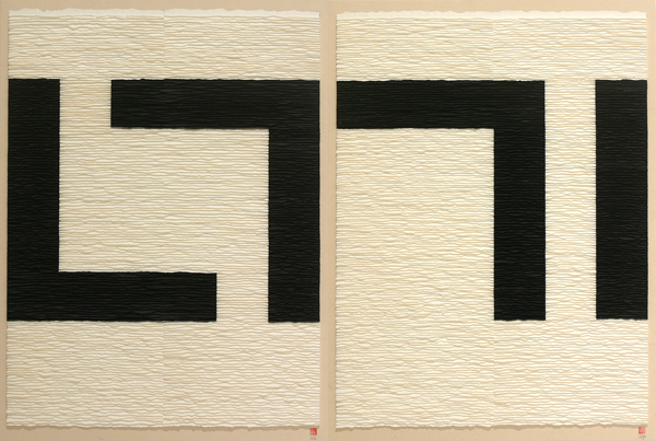 Black structure on white background 3. Diptych